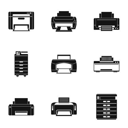 Office technical specialist icons set. Simple set of 9 office technical specialist vector icons for web isolated on white background
