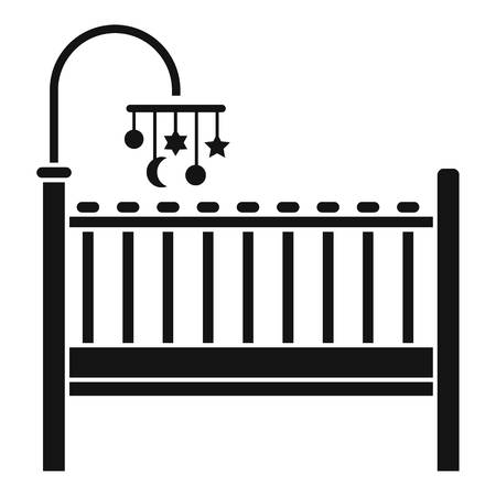 Baby bed icon. Simple illustration of baby bed vector icon for web design isolated on white background
