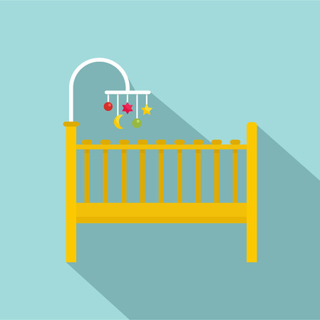 Baby bed icon. Flat illustration of baby bed vector icon for web design Illusztráció