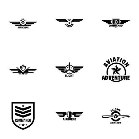 Military label icons set. Simple set of 9 military label vector icons for web isolated on white background Иллюстрация