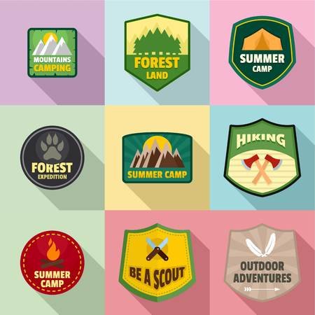 Forest badge icons set. Flat set of 9 forest badge vector icons for web isolated on white background