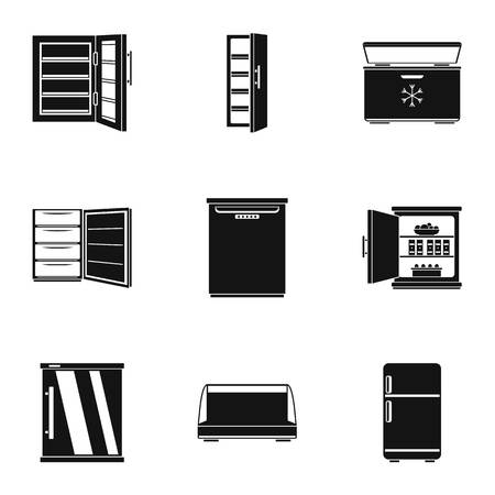 Refrigerator icons set. Simple set of 9 refrigerator vector icons for web isolated on white background