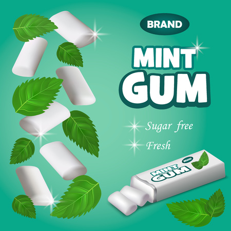 Mint gum concept background. Realistic illustration of mint gum vector concept background for web design 일러스트