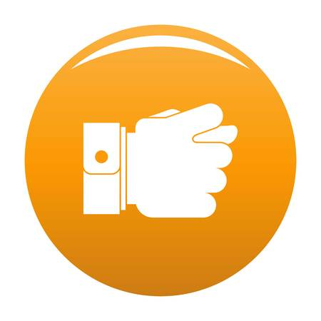 Hand greed icon. Simple illustration of hand greed vector icon for any design orange