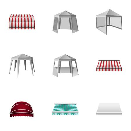 Metal gazebo icons set. Isometric set of 9 metal gazebo vector icons for web isolated on white background Illustration