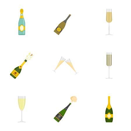 Set di icone di champagne. Un insieme del fumetto di 9 icone di vettore di champagne per il web isolato su priorità bassa bianca Vettoriali