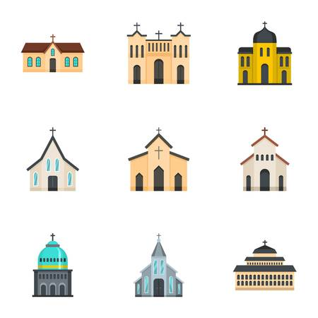 Church icons set. Cartoon set of 9 church vector icons for web isolated on white background