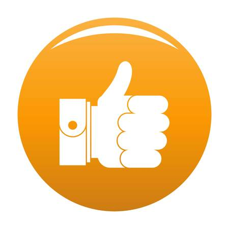 Hand excellent icon. Simple illustration of hand excellent vector icon for any design orange