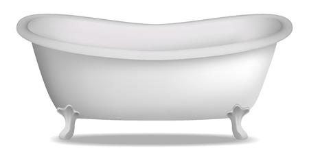 Badewanne Modell. Realistische Illustration des Badewannenvektormodells für Webdesign lokalisiert auf weißem Hintergrund Vektorgrafik