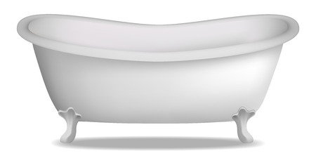 Bathtub mockup. Realistic illustration of bathtub vector mockup for web design isolated on white background