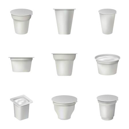 Container icons set. Isometric set of 9 container vector icons for web isolated on white background