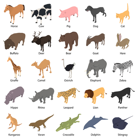 Animals with signed name icons set. Isometric illustration of 25 animals with signed name vector icons for web