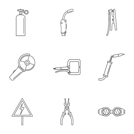 Hard worker icons set. Outline set of 9 hard worker vector icons for web isolated on white background