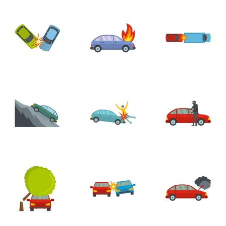 Car crash icons set. Cartoon set of 9 car crash vector icons for web isolated on white background