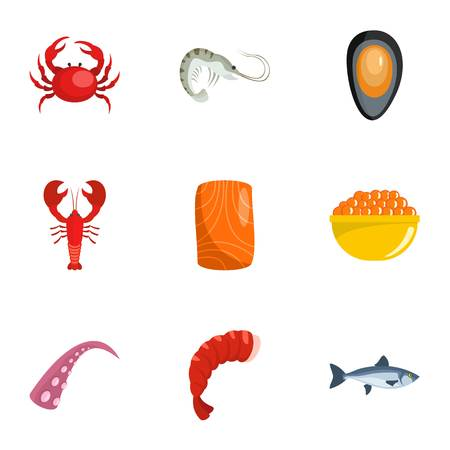 Coastal life icons set. Cartoon set of 9 coastal life vector icons for web isolated on white background