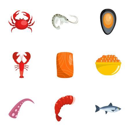 Coastal life icons set. Cartoon set of 9 coastal life vector icons for web isolated on white background