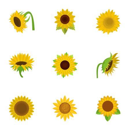 Sunflower icons set. Cartoon set of 9 sunflower vector icons for web isolated on white background Illustration