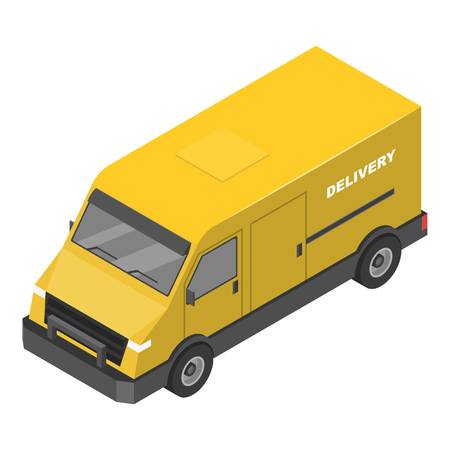 Delivery yellow truck icon. Isometric of delivery yellow truck vector icon for web design isolated on white background Illustration
