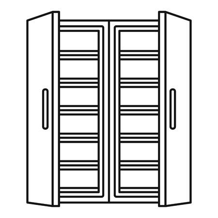 Open fridge icon. Outline illustration of open fridge vector icon for web design isolated on white background