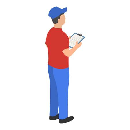 Man checking warehouse icon. Isometric of man checking warehouse vector icon for web design isolated on white background