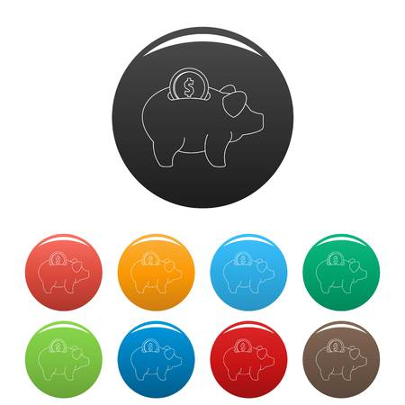 Piggy bank icon. Outline illustration of piggy bank vector icons set color isolated on white