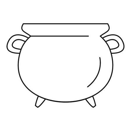 Vintage cauldron icon. Outline vintage cauldron vector icon for web design isolated on white background