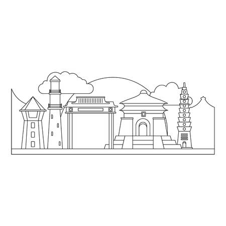 Taipei taiwan icon. Outline taipei taiwan vector icon for web design isolated on white background