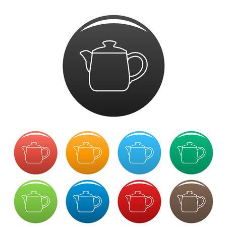 Ceramic kettle icon. Outline illustration of ceramic kettle vector icons set color isolated on white