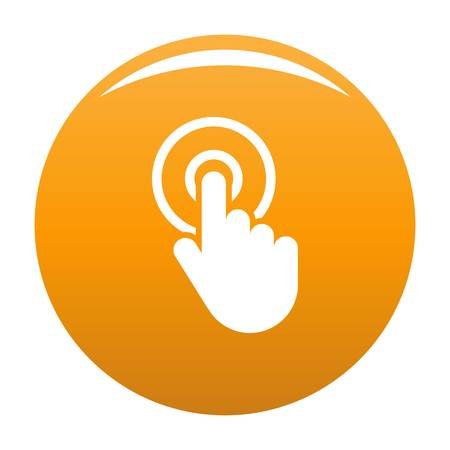 Hand cursor click icon. Simple illustration of hand cursor click vector icon for any design orange