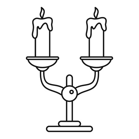 Candles stand icon. Outline illustration of candles stand vector icon for web design isolated on white background
