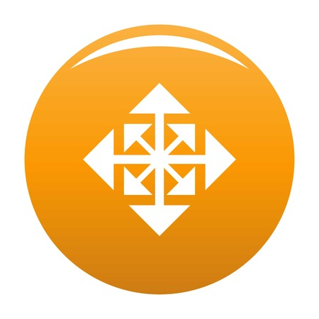 Cursor displacement arrow icon. Simple illustration of cursor displacement arrow vector icon for any design orange