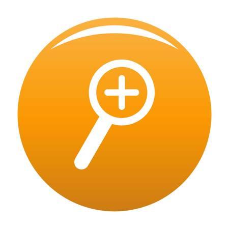 Cursor magnifier plus icon. Simple illustration of cursor magnifier plus vector icon for any design orange