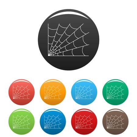 Gothic spiderweb icon. Outline illustration of gothic spiderweb vector icons set color isolated on white Stock Illustratie