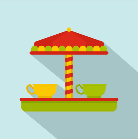 Tea cup carousel icon. Flat illustration of tea cup carousel vector icon for web design