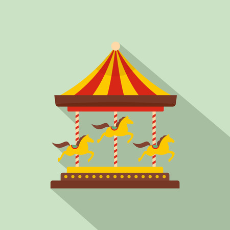 Horse carousel icon. Flat illustration of horse carousel vector icon for web design