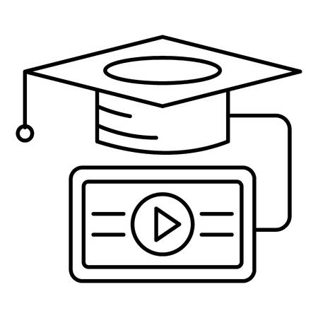 Video graduation icon. Outline illustration of video graduation vector icon for web design isolated on white background Illustration