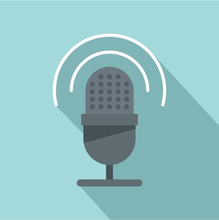 Studio microphone icon. Flat illustration of studio microphone vector icon for web design Illustration
