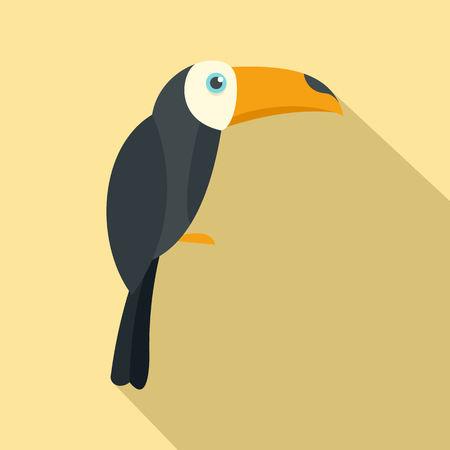 Brazilian toucan icon. Flat illustration of brazilian toucan vector icon for web design