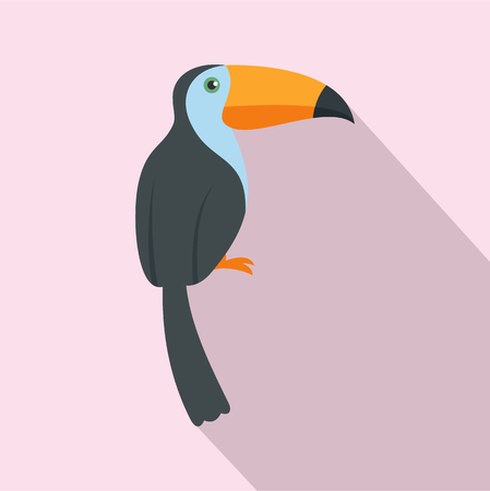 Exotic toucan icon. Flat illustration of exotic toucan vector icon for web design