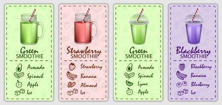 Ensemble de concept de bannière de jus de fruits Smoothie. Illustration réaliste de 4 concepts horizontaux de bannière de vecteur de jus de fruits smoothie pour le web