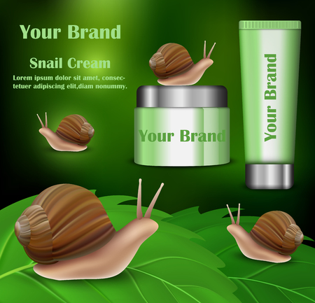 Snail cream cosmetics beauty banner. Realistic illustration of snail cream cosmetics beauty banner vertical concept for web