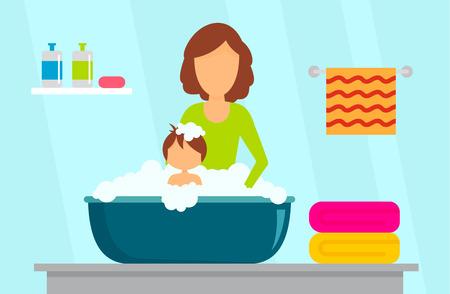 Mother wash kid concept background. Flat illustration of mother wash kid vector concept background for web design