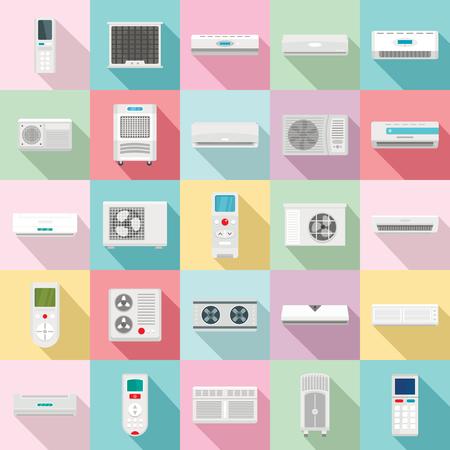 Ensemble d'icônes à distance d'évent de filtre à air de climatiseur. Illustration plate de 25 icônes vectorielles à distance de ventilation de filtre à air de climatiseur pour le web