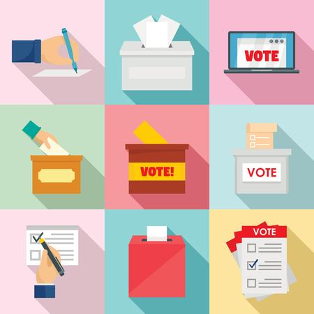 Ballot voting box vote polling icons set. Flat illustration of 9 ballot voting box vote polling vector icons for web Vecteurs