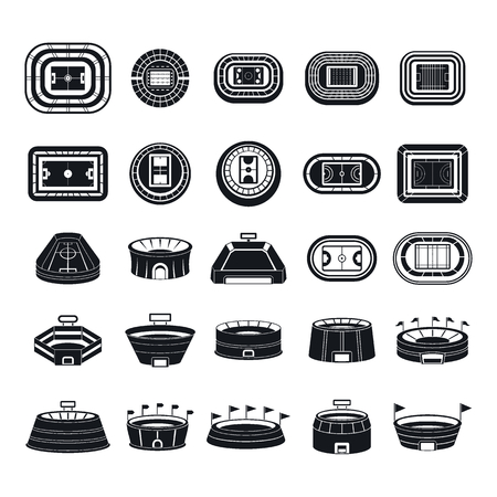 Arena stadium sport scene icons set. Simple illustration of 25 arena stadium sport scene vector icons for web
