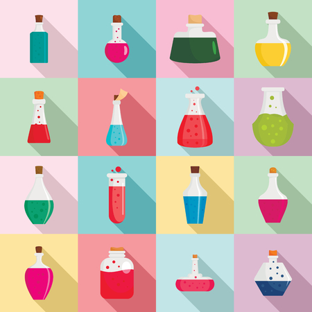 Potion magic bottle icons set. Flat illustration of 16 potion magic bottle vector icons for web