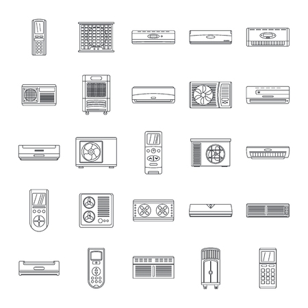 Conditioner air filter vent remote icons set. Outline illustration of 25 conditioner air filter vent remote vector icons for web Vectores
