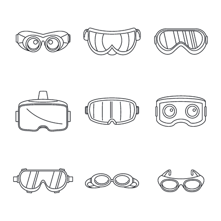 Goggles ski glass mask icons set. Simple illustration of 9 goggles ski glass mask vector icons for web