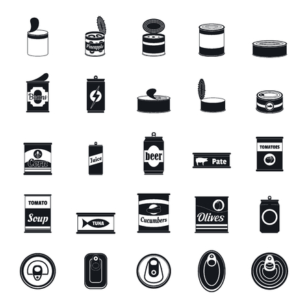 Blechdose Lebensmittelpaket Glas Symbole gesetzt. Einfache Illustration von 25 Blechdosen-Lebensmittelverpackungsglasvektorikonen für Web Vektorgrafik