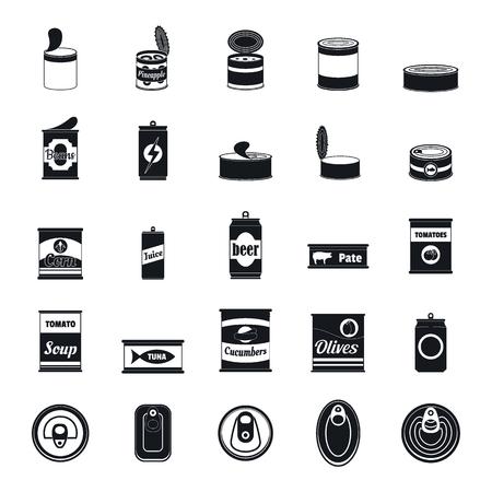 Boîte de conserve ensemble d'icônes de pot d'emballage alimentaire Illustration simple de 25 boîtes de conserve icônes vectorielles de pot d'emballage alimentaire pour le web Vecteurs